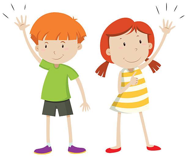 illustrazioni stock, clip art, cartoni animati e icone di tendenza di ragazzo e ragazza che le loro mani in alto - mancino