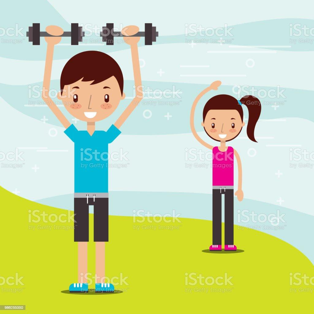 Boy And Girl Healthy Good Habits Stock Illustration -7907