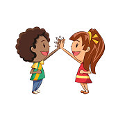 Children high five, teamwork, greeting, celebration, friends, hand gesture, cute kids, girl, boy, happy cartoon character, young man, woman, people, vector illustration, isolated, white background