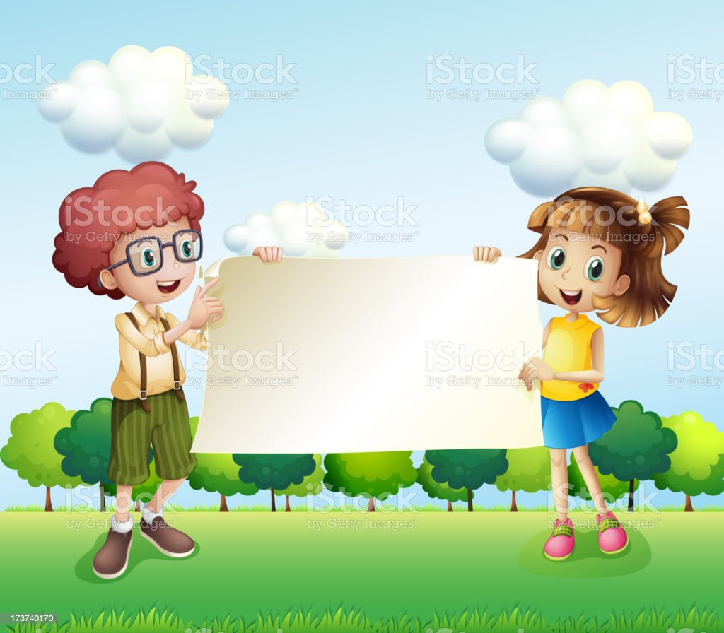 Boy and girl holding an empty signage royalty-free boy and girl holding an empty signage stock vector art & more images of adult