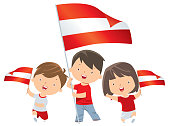 Boy and girl holding Austria  flag
