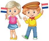Boy and girl holding flag of Netherland illustration