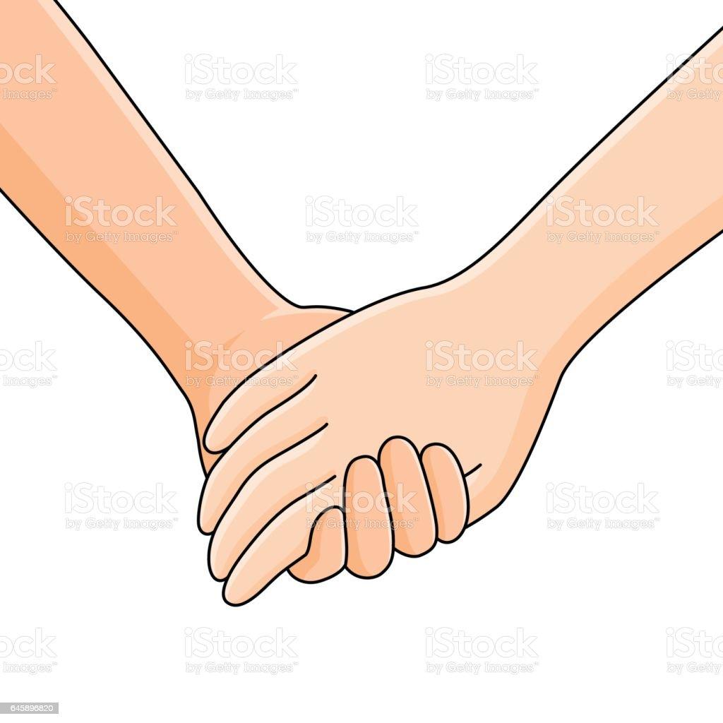 niño y una niña cogidos de la mano. - ilustración de arte vectorial