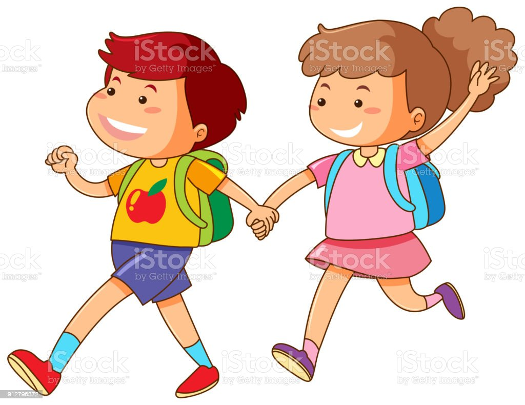 media istockphoto com vectors boy and girl holding rh istockphoto com Sample Boy and Girl Clip Art Holding Hands boy and girl holding hands clipart black and white