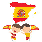 istock Boy and girl holding Spain flag 937510728