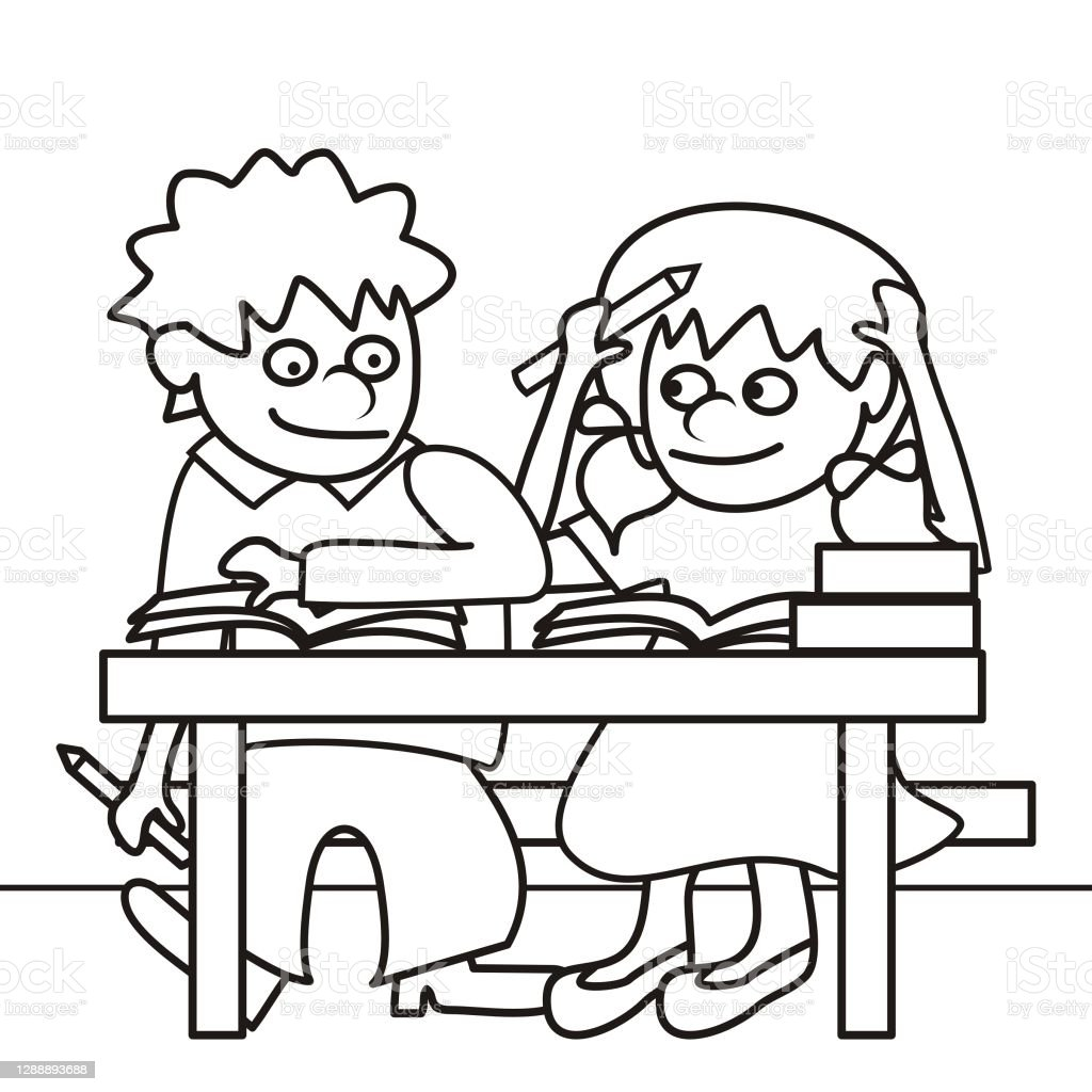 Anak Lakilaki Dan Perempuan Di Kelas Ilustrasi Vektor Buku Mewarnai Ilustrasi Stok Unduh Gambar Sekarang Istock