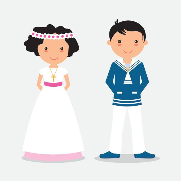 boy and girl in communion suit - communion stock illustrations, clip art, cartoons, & icons