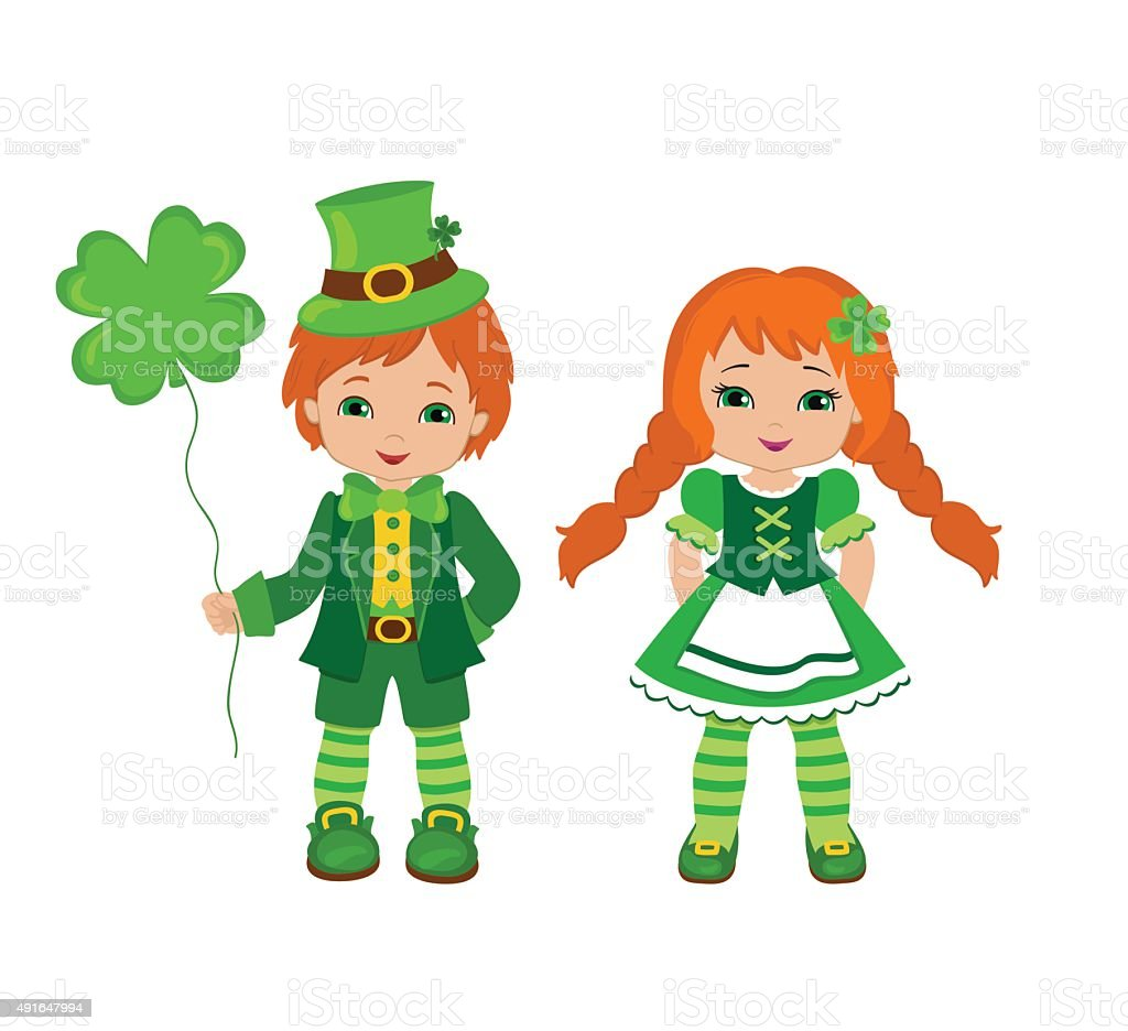 boy and girl in irish costumes st patricks day vector id