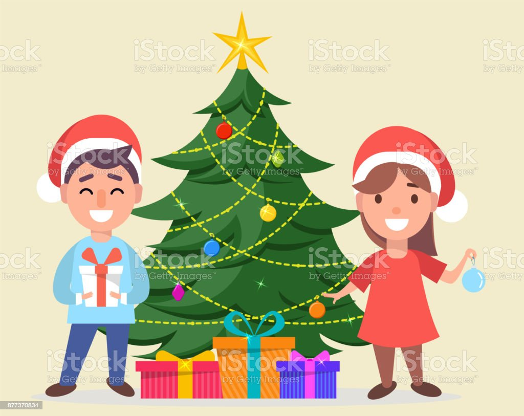 Boy and girl in Santa Claus hats standing near decorated Christmas tree vector art illustration