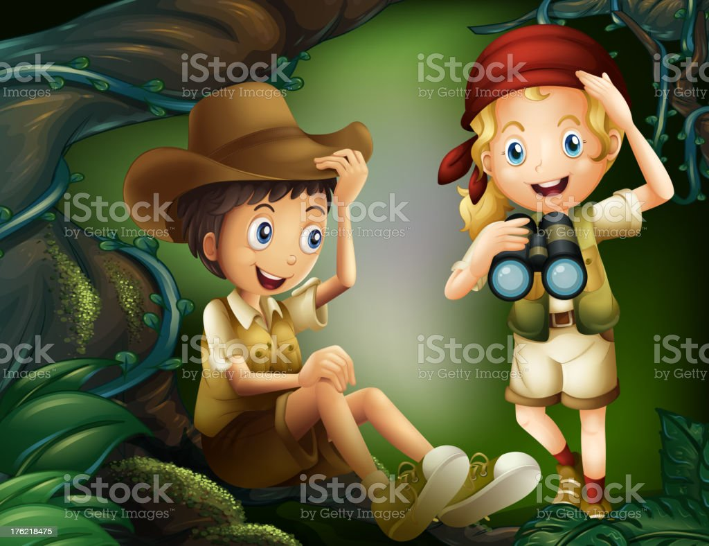 Boy and girl in the forest royalty-free stock vector art