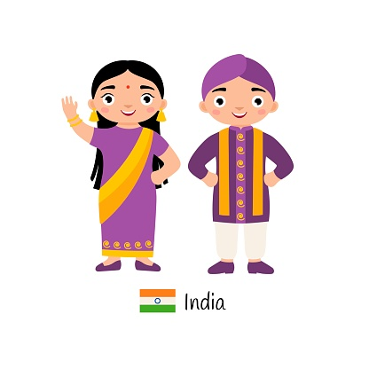 519ee45f4 Boy And Girl In Traditional Indian Costumes Stock Illustration - Download  Image Now - iStock