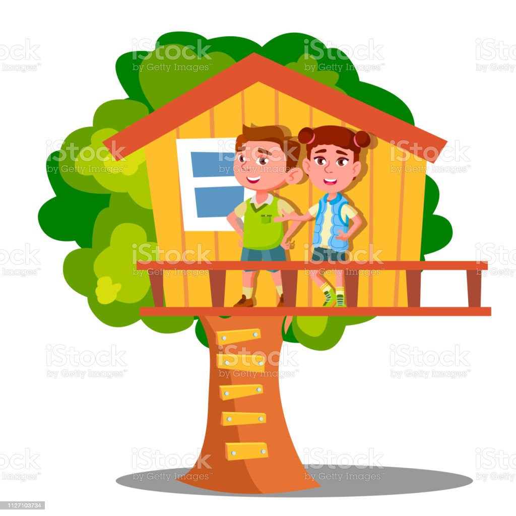 Boy And Girl Kid Playing On Tree House Vector. Isolated Illustration vector art illustration