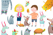 Young kids and domestic animals vector cartoon.