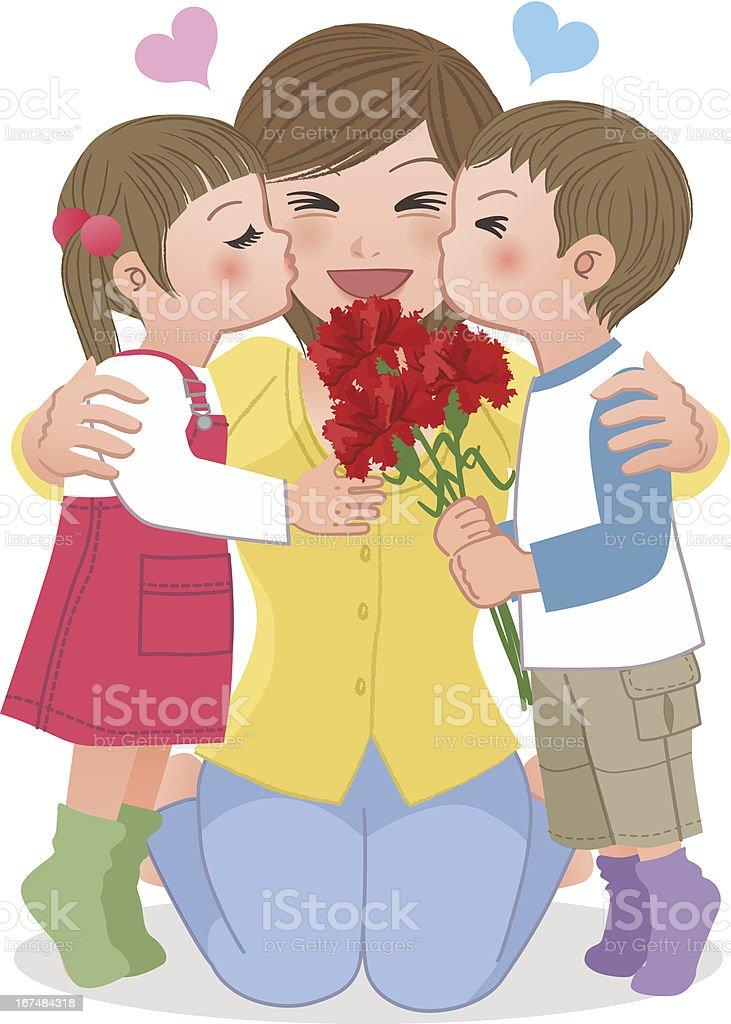 Boy and girl kissing mom vector art illustration