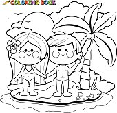 Boy and girl on an island coloring book page