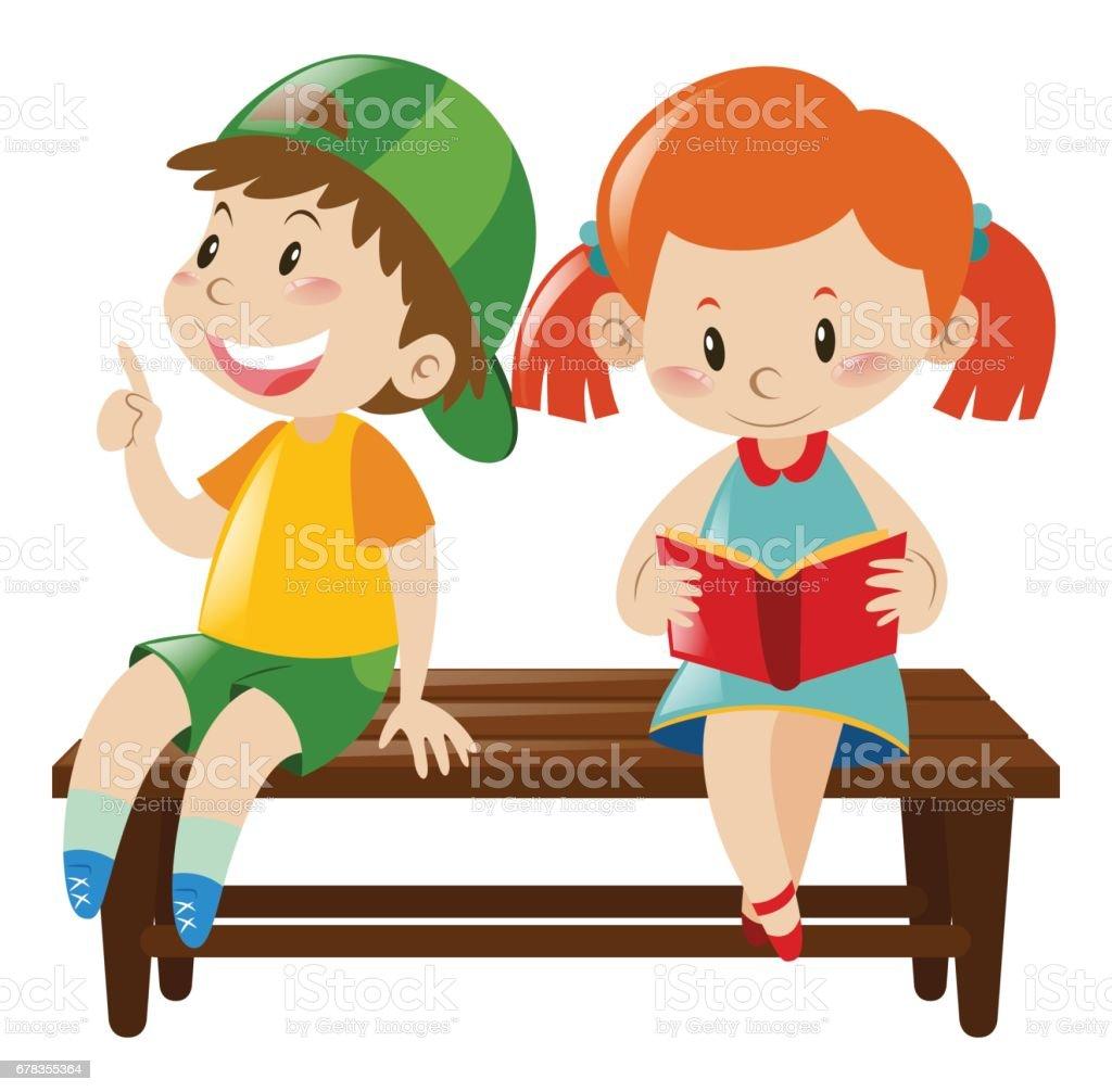 royalty free clip art of boy girl sitting bench clip art vector rh istockphoto com boy and girl clipart outline boy and girl clipart coloring