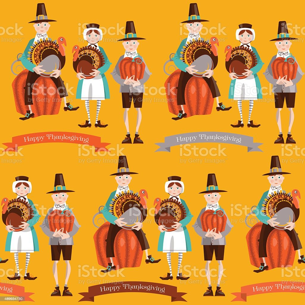 Boy and girl pilgrims with turkey and pumpkin Thanksgiving card. vector art illustration