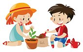 Boy and girl planting tree illustration