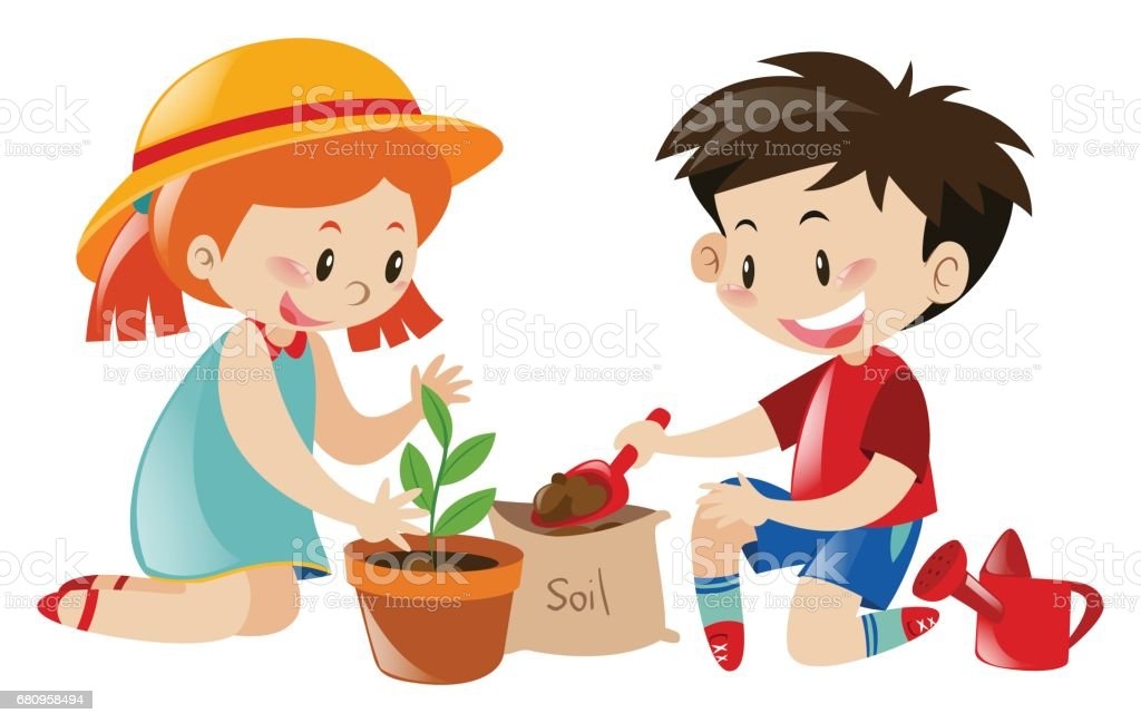 royalty free kids planting clip art vector images illustrations rh istockphoto com planting clipart black and white clipart planting trees