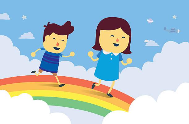Boy and girl play chasing on rainbow bridge Boy and girl play chasing on rainbow bridge in the sky. This is fantasy concept about kid rainbow bridge ontario stock illustrations