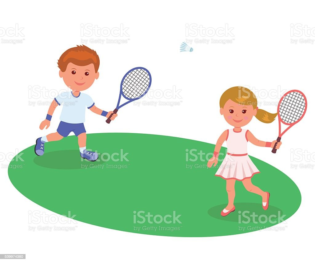 Boy and girl playing on the lawn badminton. vector art illustration
