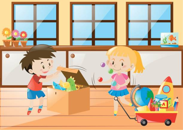 ilustrações, clipart, desenhos animados e ícones de menino e menina jogando brinquedos em casa - salas de aula