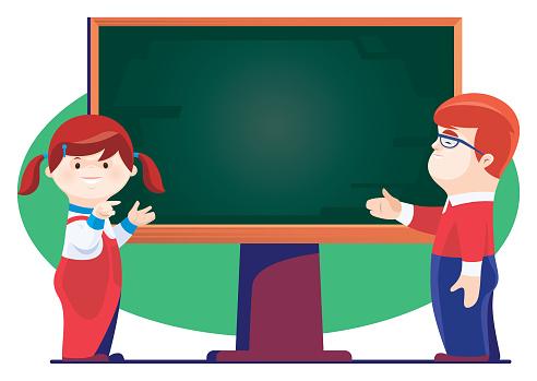 boy and girl presenting with blackboard