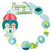 Boy and Girl Rainy Season Frame