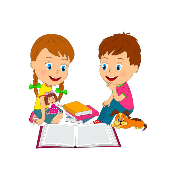 jungen und mädchen lesen buch - puppenkurse stock-grafiken, -clipart, -cartoons und -symbole