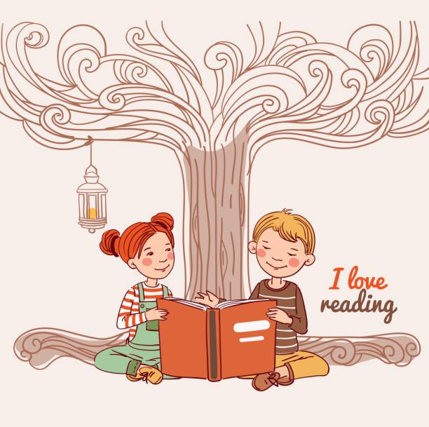 stockillustraties, clipart, cartoons en iconen met jongen en meisje het lezen van een boek onder de boom - mini amusementpark