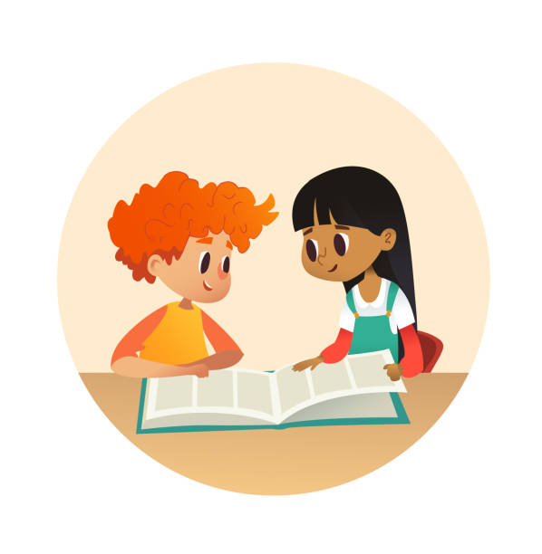 boy and girl reading book and talking to each other at school library. school kids discussing story in round frames. cartoon vector illustration for banner, poster. - language class stock illustrations