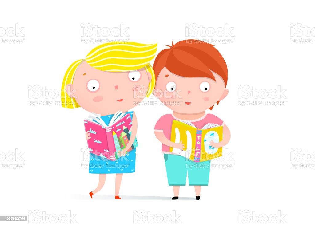 Jungen Und Mädchen Lesen Buch Clipart Stock Vektor Art Und