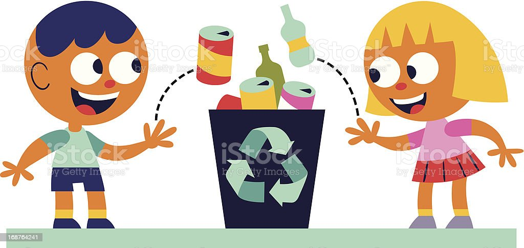 Boy and girl recycling vector art illustration