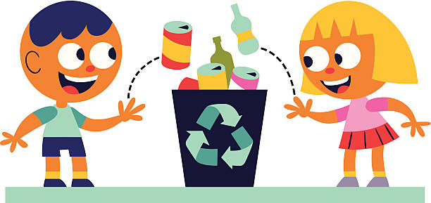 boy and girl recycling - child throwing garbage stock illustrations, clip art, cartoons, & icons