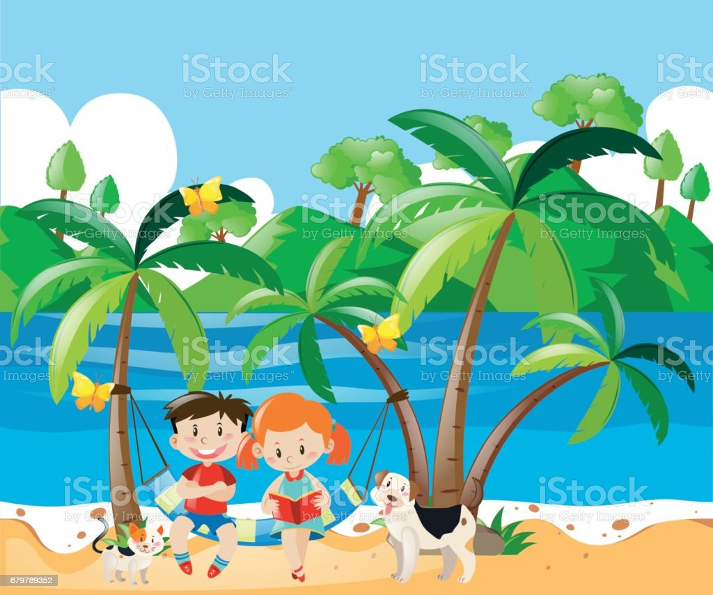 Boy and girl relaxing on the beach vector art illustration