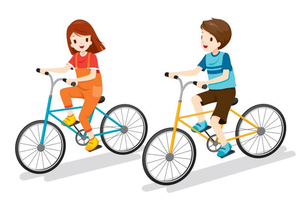 Boy And Girl Riding Bicycle Vector Art Illustration
