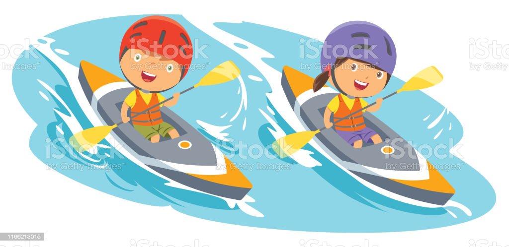 Vector Boy And Girl Rowing canoe