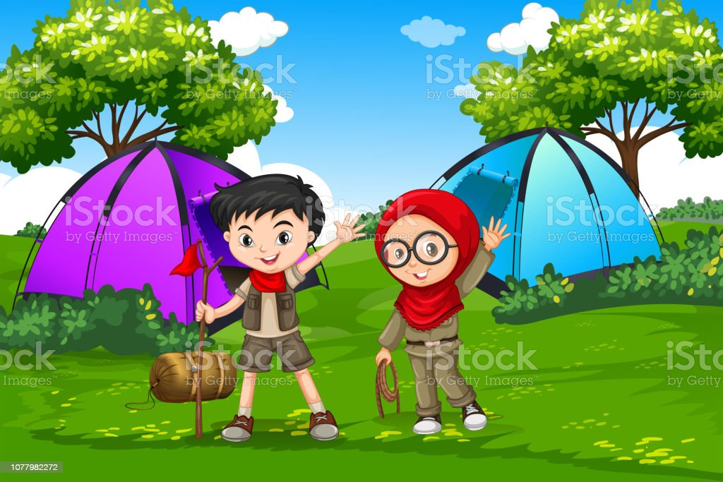 Boy and girl scout camping in forest illustration