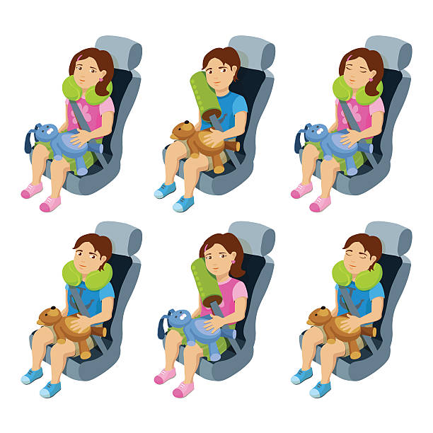 illustrations, cliparts, dessins animés et icônes de boy and girl seats in a car with safety belts. - child car sleep