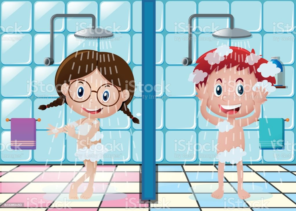 Jungen Und Mädchen Duschen Im Badezimmer Stock Vektor Art und mehr