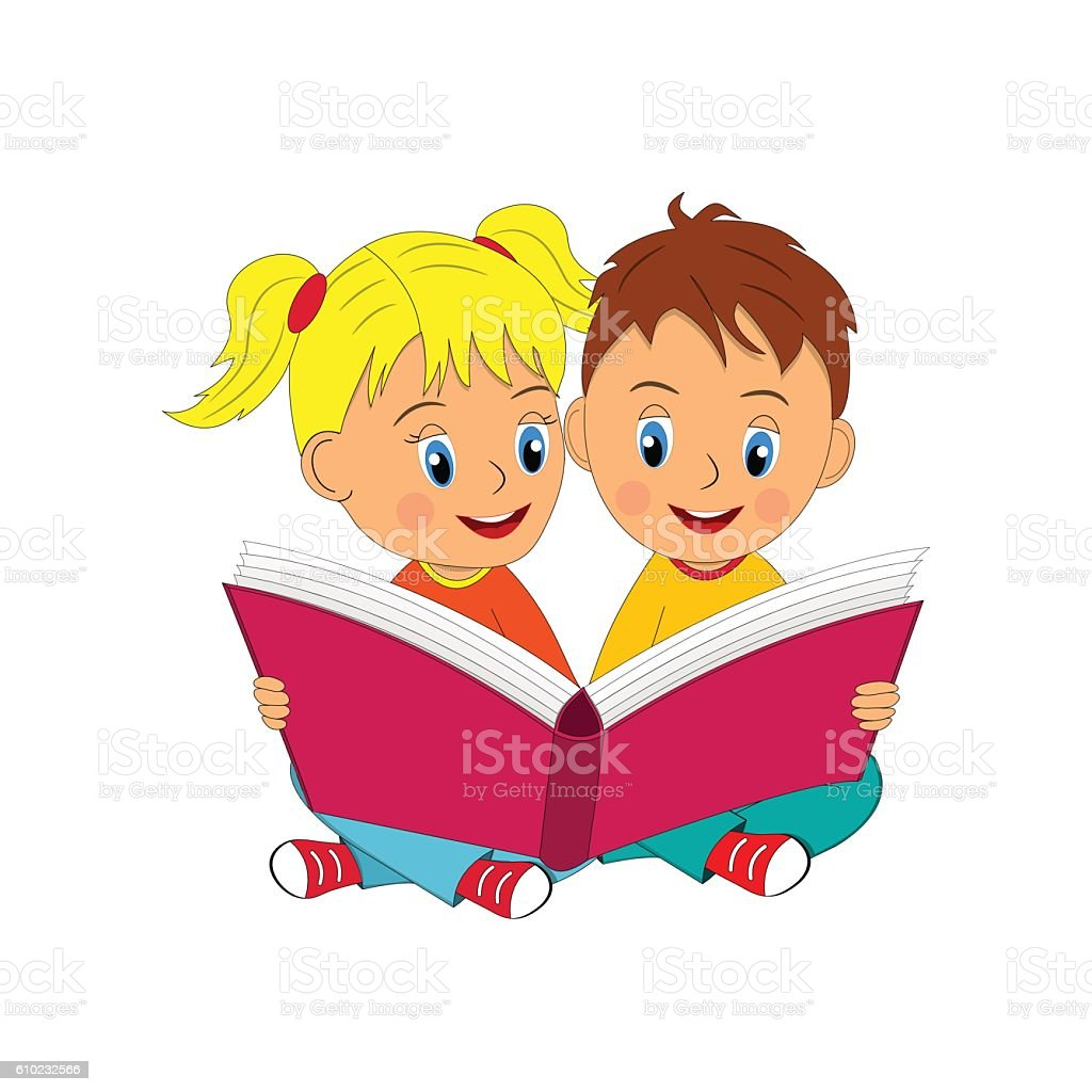 boy and girl sit and read book stock vector art & more images of