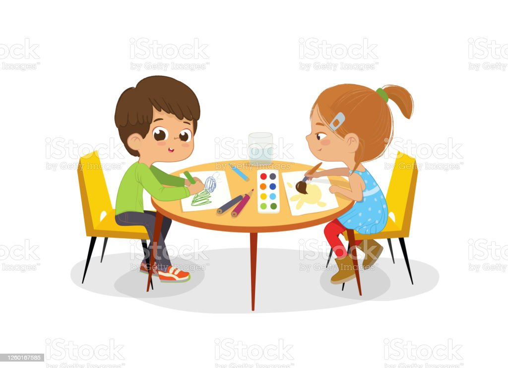 Boy And Girl Sit At The Round Table Draw Picture With Watercolor Pencils Drawing Activity In Art Class Pictures Paints Poster