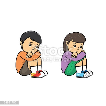 Boy and girl sitting and hugging arms around their knees because of feeling lonely. For human emotion or face expression concepts.Used to compose teaching materials in a set that expresses emotions.