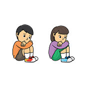istock Boy and girl sitting and hugging arms around their knees because of feeling lonely. For human emotion or face expression concepts.Used to compose teaching materials in a set that expresses emotions. 1296617001