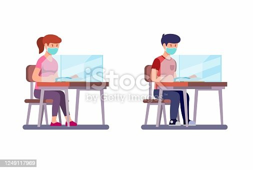 Boy and Girl Sitting and Study Wear Face Mask with Plastic Screen Divider in desk, New Normal Activities Student at School after Pandemic in Cartoon Illustration Vector on White Background