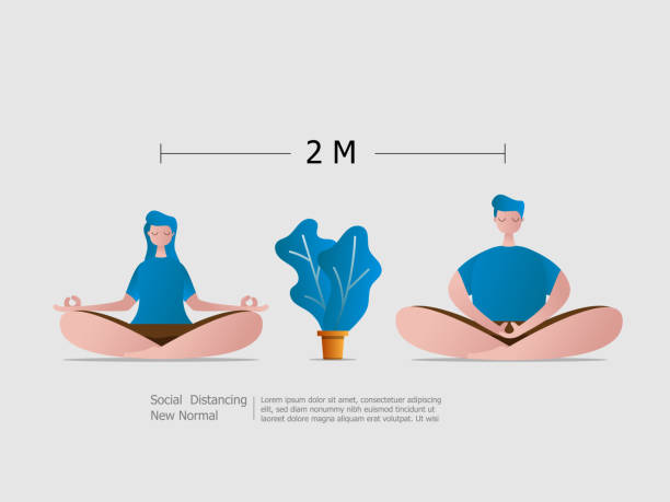 boy and girl sitting meditation with social distancing vector art illustration