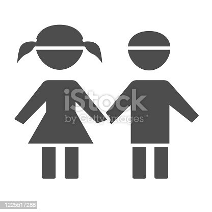 istock Boy and girl solid icon, 1st June children protection day concept, children silhouettes sign on white background, Brother and sister symbol in glyph style for mobile concept and web design. 1225517288