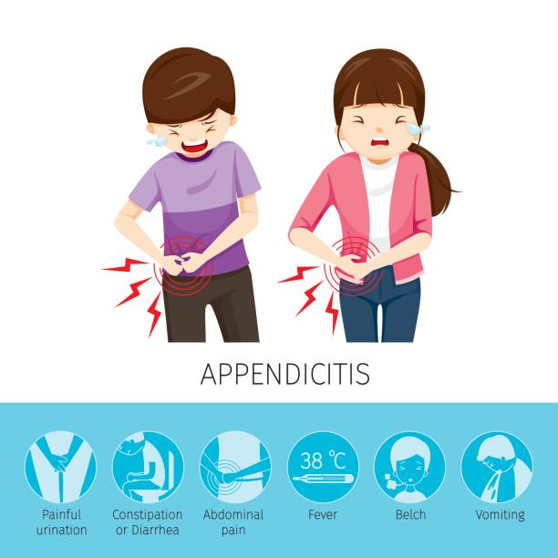 Boy And Girl Stomachache Because To Appendicitis vector art illustration