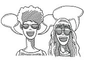 Hand-drawn vector drawing of a Boy And a Girl wearing Sunglasses and Speech Bubbles. Black-and-White sketch on a transparent background (.eps-file). Included files are EPS (v10) and Hi-Res JPG.
