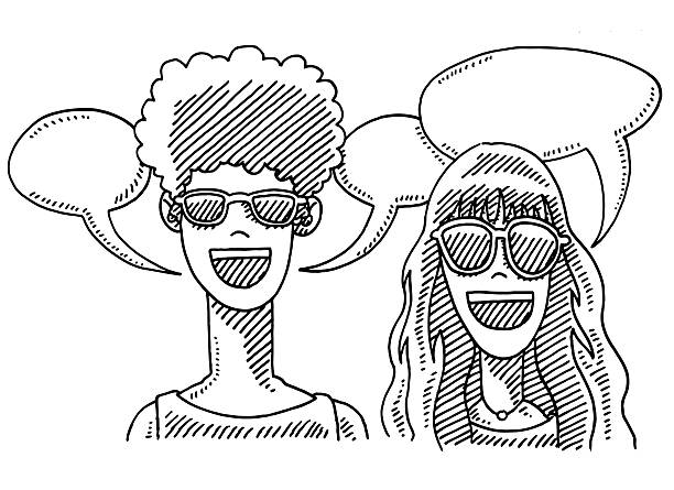 Boy And Girl Sunglasses Speech Bubbles Drawing Hand-drawn vector drawing of a Boy And a Girl wearing Sunglasses and Speech Bubbles. Black-and-White sketch on a transparent background (.eps-file). Included files are EPS (v10) and Hi-Res JPG. women stock illustrations